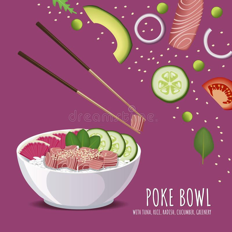 Hawaiiaanse Por Tuna Bowl, rijst, radijs, komkommer, groen en sesam royalty-vrije illustratie