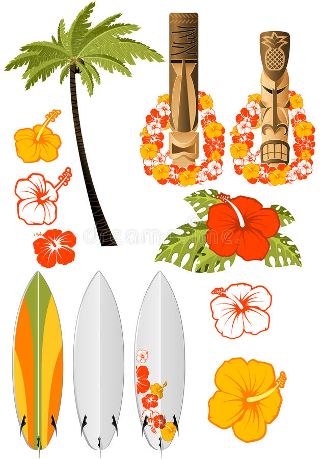 Hawaiiaanse rust attributen royalty-vrije illustratie