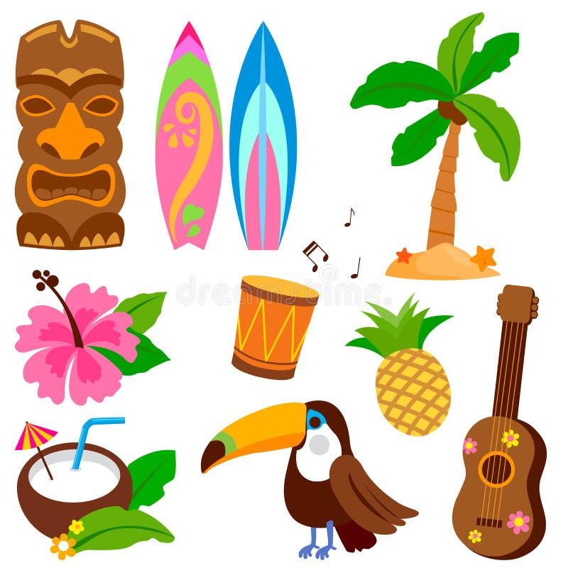 Hawaiiaanse vectorillustratieinzameling stock illustratie