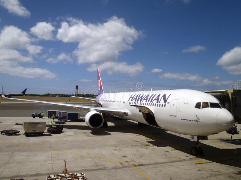 Hawaiian Airlines airplanes gets ready for boarding stock photography