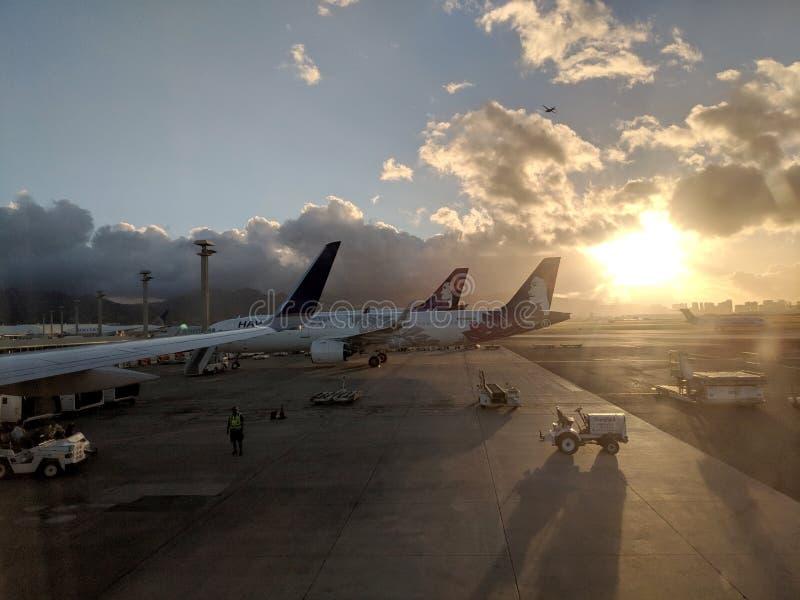 Hawaiian Airlines-Vliegtuigen bij de Internationale luchthaven die van Honolulu worden geparkeerd royalty-vrije stock fotografie