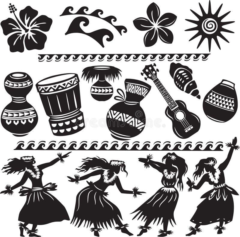Hawaiian ajustado com dançarinos ilustração stock