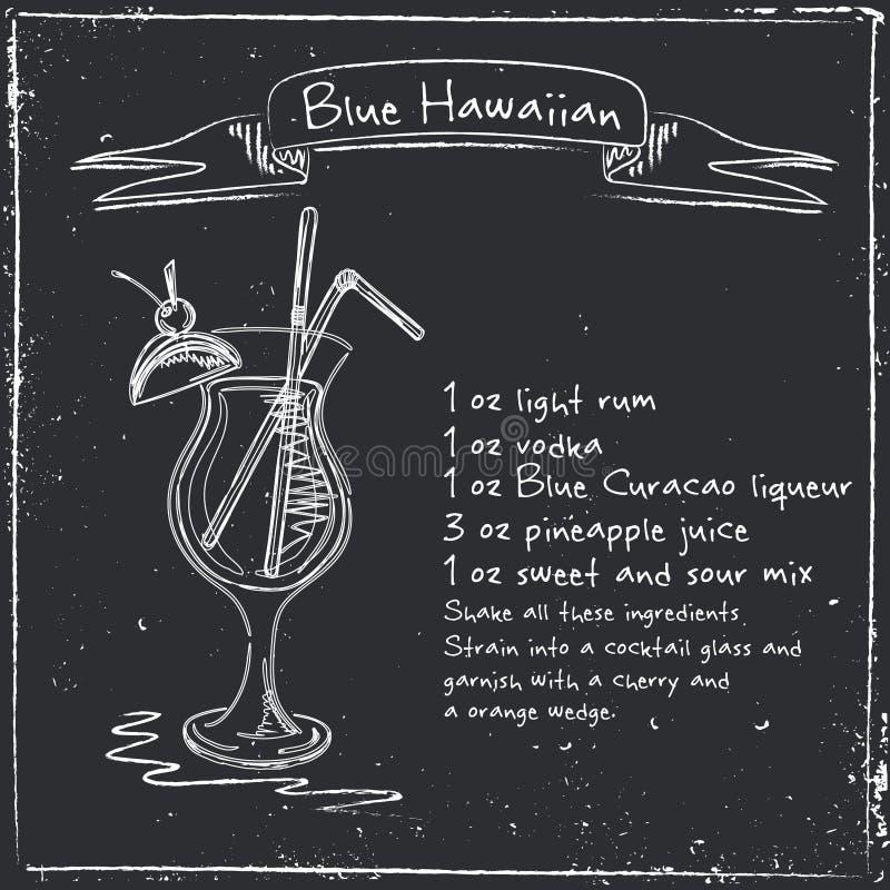Hawaiian azul Ilustração tirada mão do cocktai ilustração royalty free