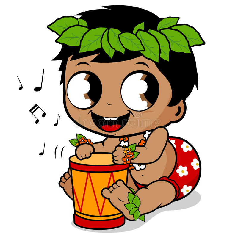 Hawaiian baby boy playing music with the pahu drum. Vector illustration of a cute Hawaiian baby boy with flowers and garland playing music with his drum vector illustration
