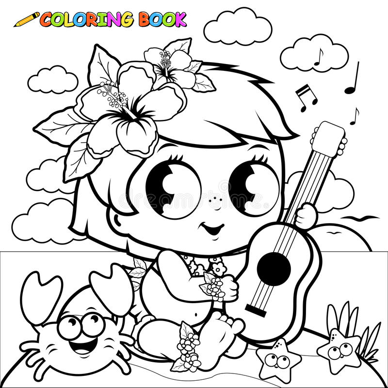 Hawaiian baby girl on an island playing the ukulele. Coloring book page. Vector black and white illustration of a cute Hawaiian baby girl on an island with a royalty free illustration