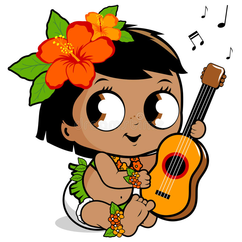 Hawaiian baby girl playing the ukulele. Vector illustration of a cute Hawaiian baby with a grass skirt, hibiscus flowers and garland playing music with her royalty free illustration