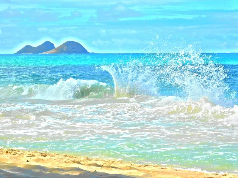Beach and waves. Hawaiian Beach with incoming waves background vector illustration