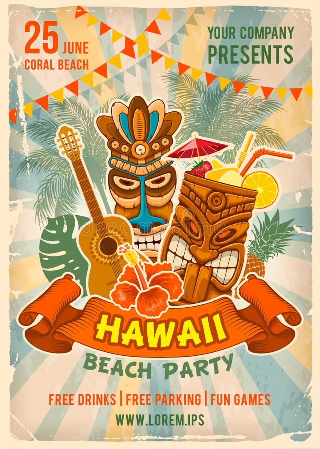 Hawaiian Beach Party Poster Template. Vintage poster template for party in Hawaiian style. Tiki mask, exotic cocktail and other traditional elements. Place for stock illustration