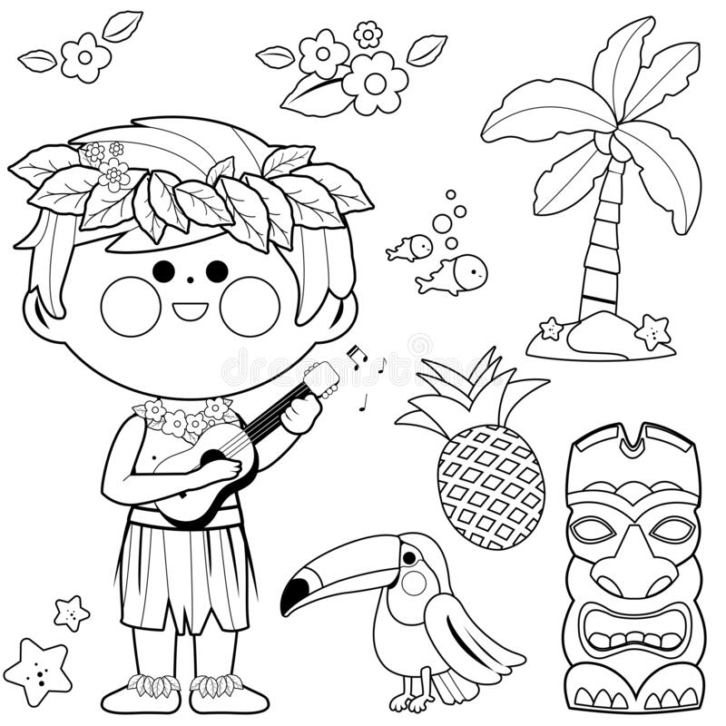 Free Hawaiian Boy Playing Music With His Guitar. Vector Black And White Coloring Page Stock Photos - 177684743