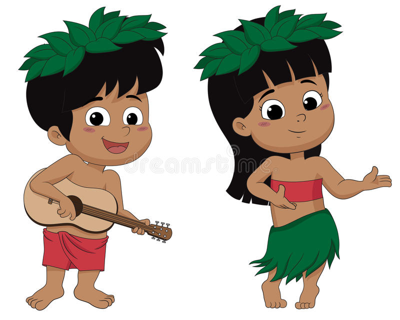 Hawaiian boy playing ukelele and girl hula dancing.vector and il stock illustration