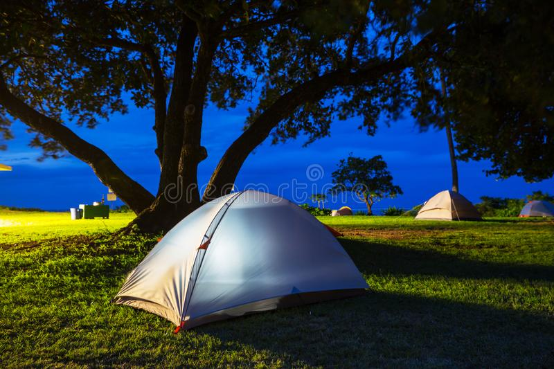Hawaiian camping stock photo