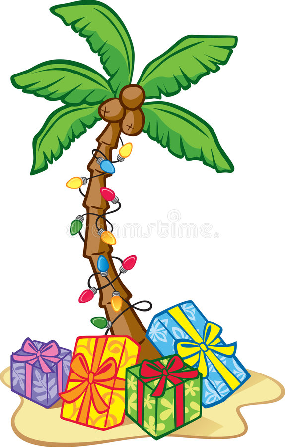 Hawaiian Christmas Tree. Illustration of a Coconut Tree Decorated with Christmas Lights and Presents
