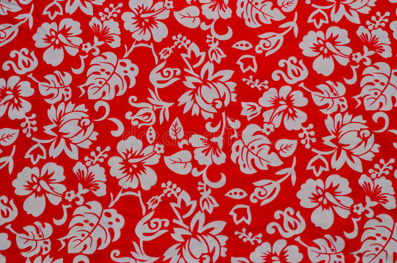Hawaiian Fabric With White Flowers Stock Photo