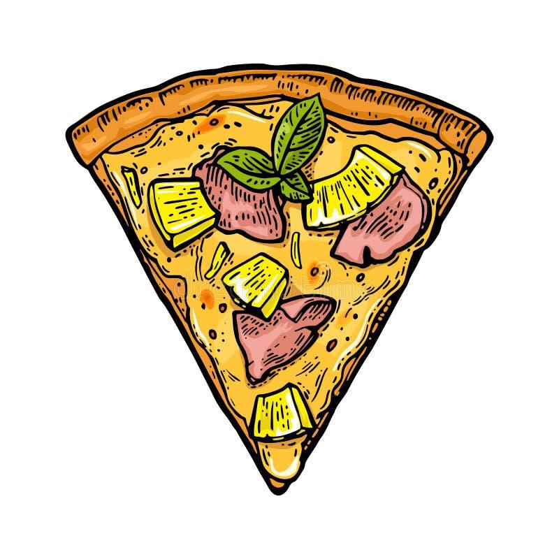 Hawaiian da pizza da fatia Ilustração da gravura do vetor do vintage para o cartaz, menu, caixa ilustração do vetor