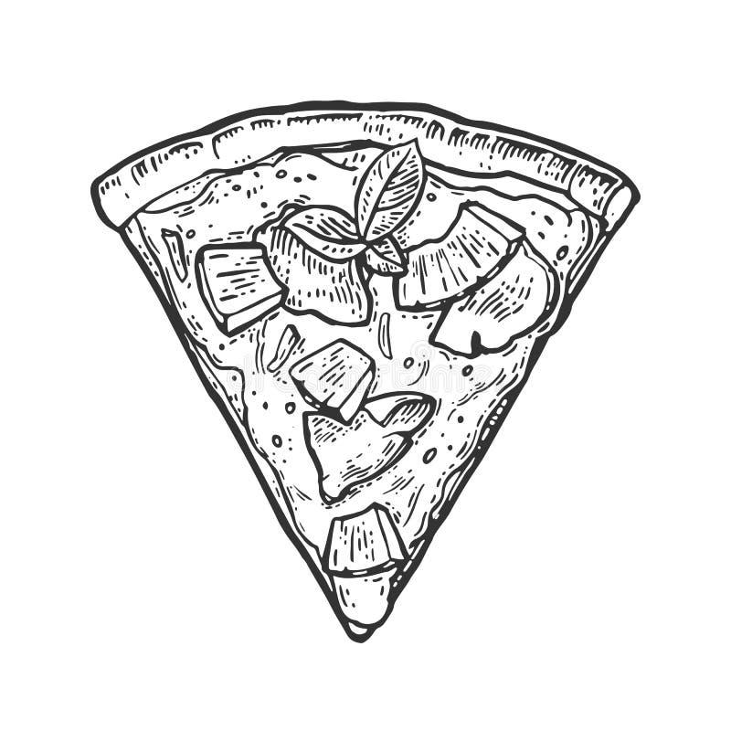 Hawaiian da pizza da fatia Ilustração da gravura do vintage para o cartaz, menu, caixa ilustração do vetor