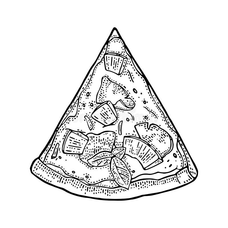 Hawaiian da pizza da fatia Ilustração da gravura do vetor do vintage para o cartaz, menu, caixa ilustração stock