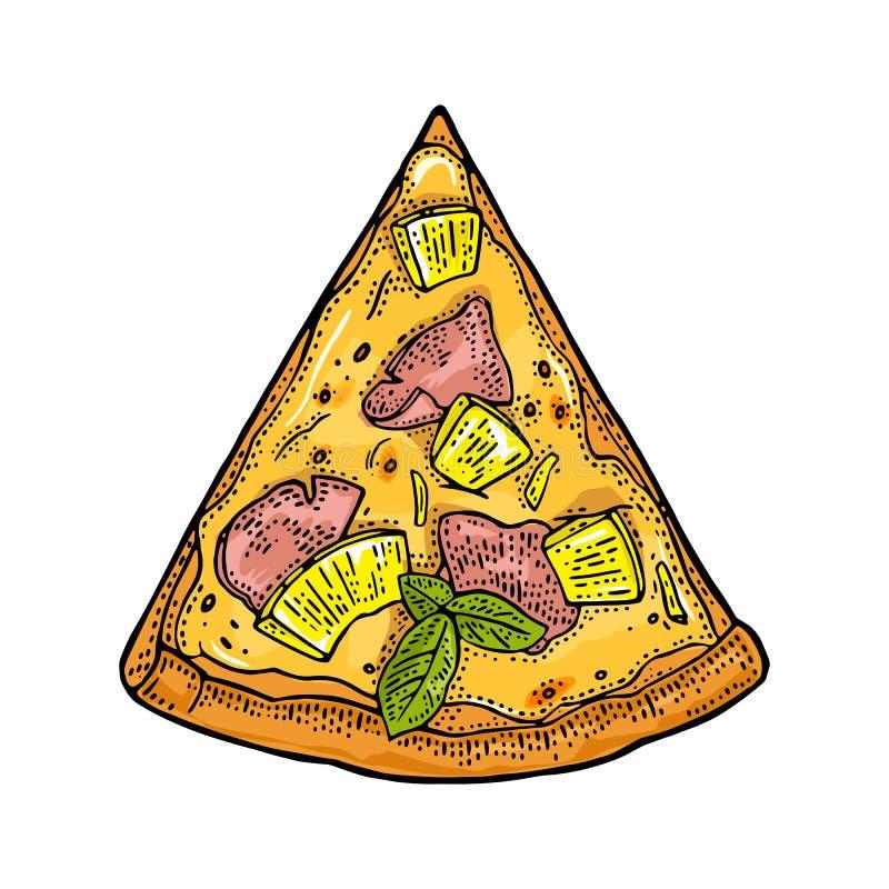 Hawaiian da pizza da fatia Ilustração da gravura do vetor do vintage para o cartaz, menu, caixa ilustração royalty free
