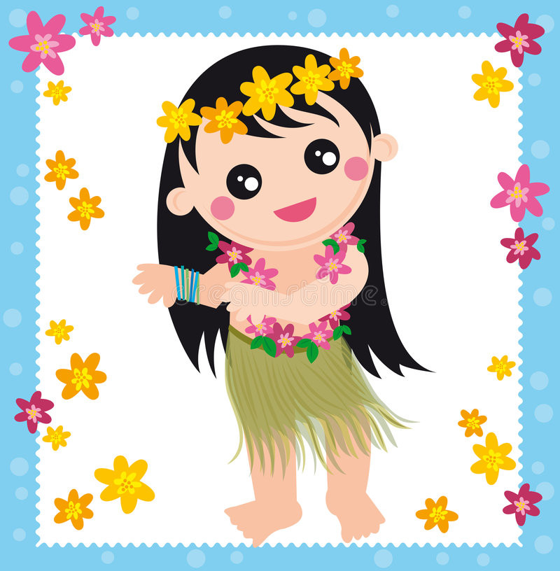 Hawaiian girl stock illustration