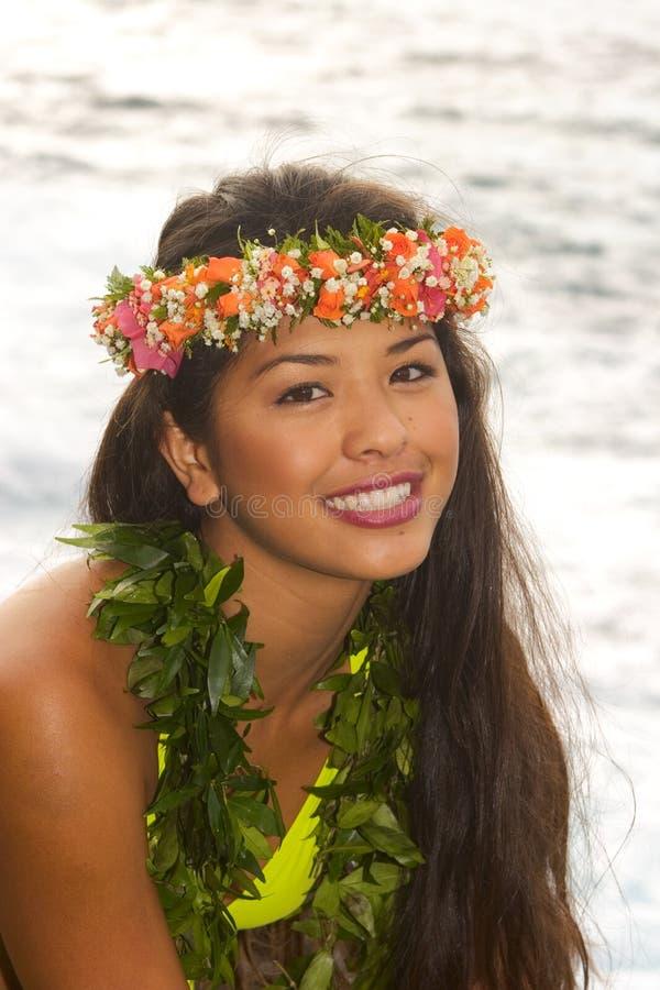 Free Hawaiian Girl With Flowers On Lava Royalty Free Stock Photos - 8333278
