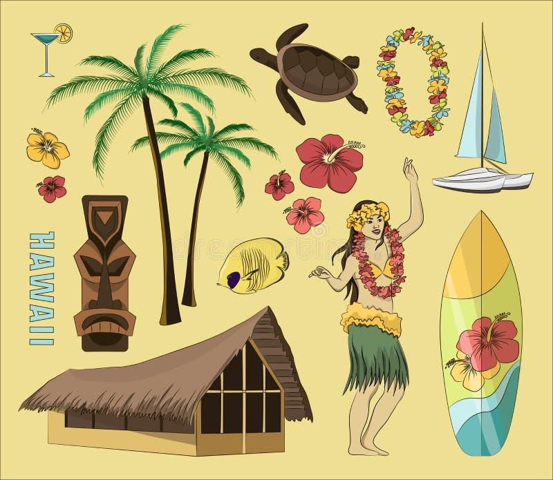 Hawaiian, grupo de Havaí ilustração stock