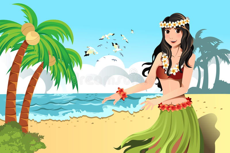 Hawaiian hula dancer stock illustration
