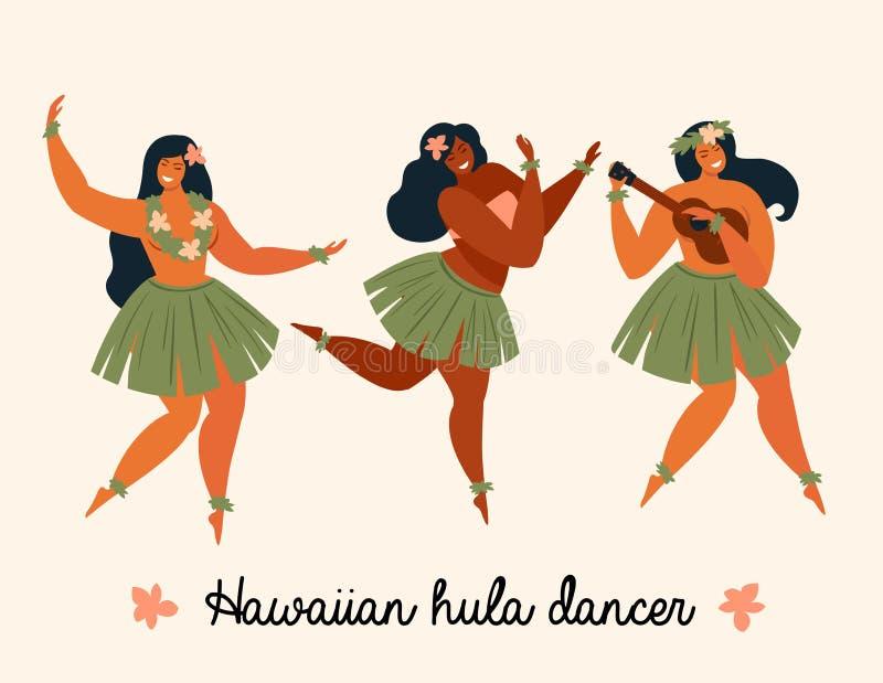 Hawaiian hula dancers young pretty woman Vector illustration. Hawaiian hula dancers young pretty woman. Vector illustration royalty free illustration