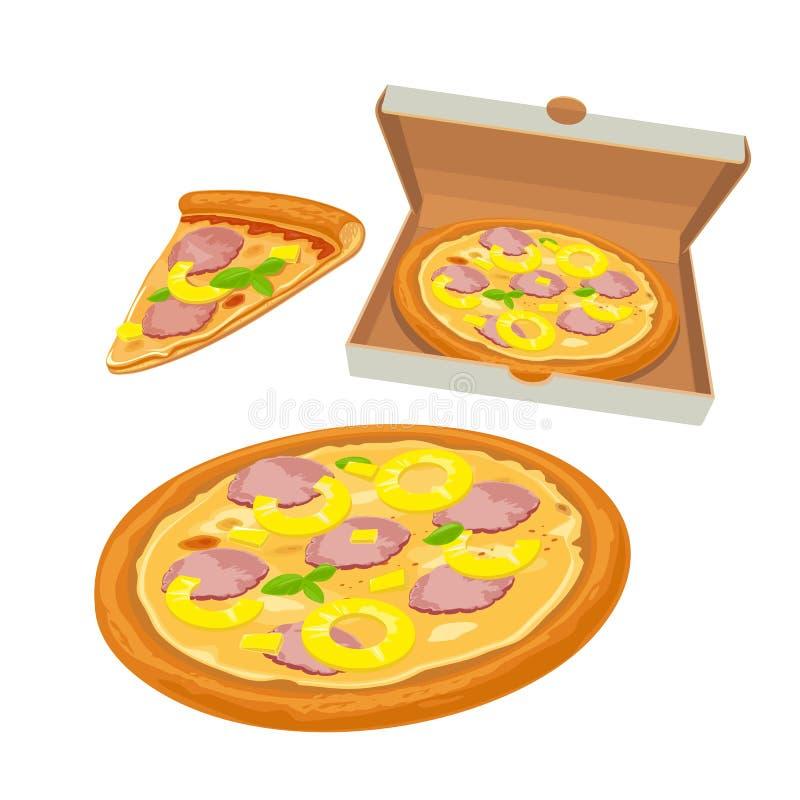 Hawaiian inteiro da pizza na caixa branca e na fatia abertas ilustração lisa para o cartaz, menus, logotype, folheto, Web e ilustração stock