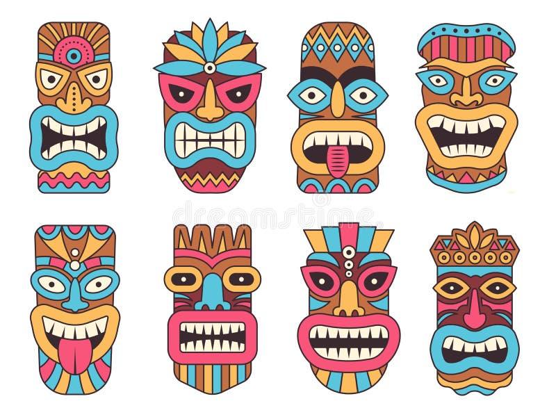 Hawaiian mask of tiki god. Wooden african sculpture vector illustration