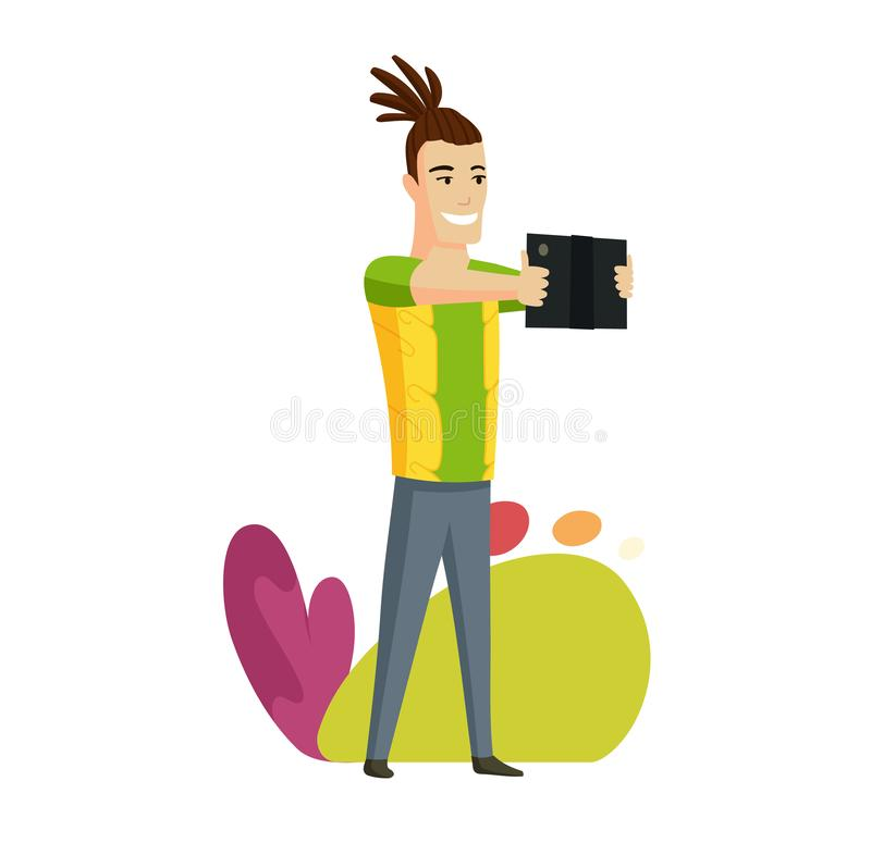 Hawaiian men with tablet. Vector colorful illustration of communication via the Internet, social networking, chat, video. News, messages, web site, search royalty free illustration