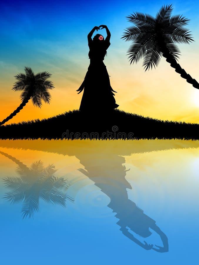Hawaiian no por do sol ilustração do vetor