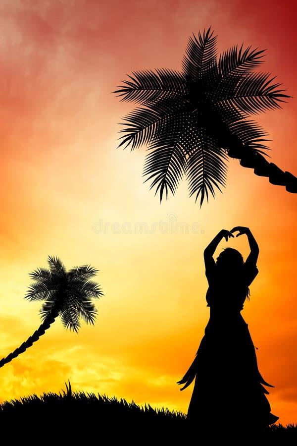 Hawaiian no por do sol ilustração stock