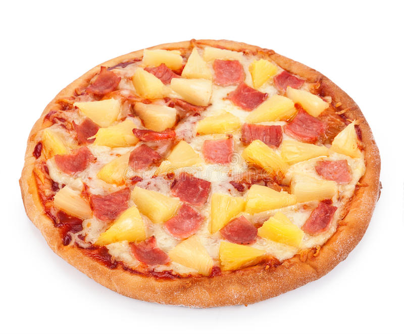 Hawaiian Pizza isolated on a white background royalty free stock photos