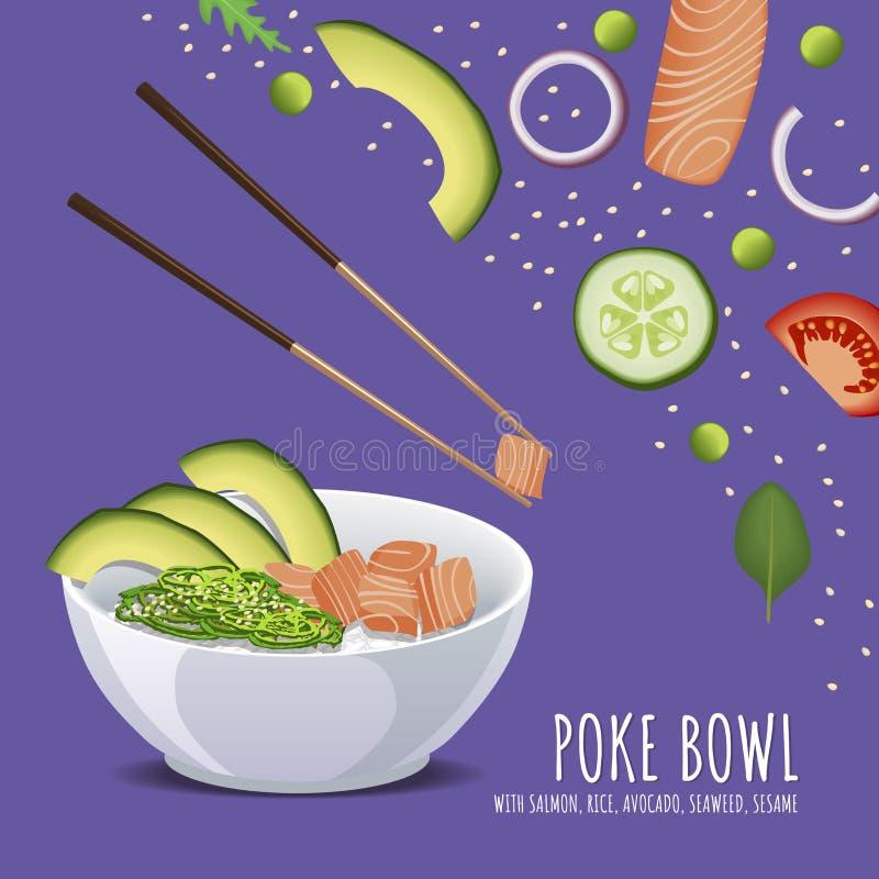 Hawaiian Poke Salmon Bowl, with rice, avocado, seaweed and sesame royalty free illustration