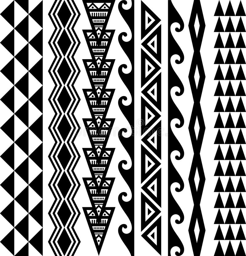 Hawaiian Seamless Tattoo Pattern stock image