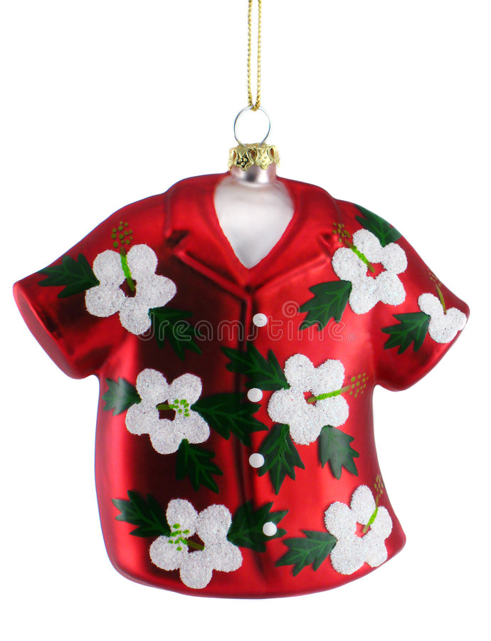 Hawaiian Shirt Christmas Ornament royalty free stock photo
