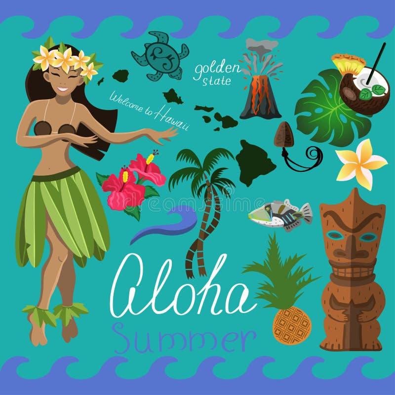 Hawaiian summer set of elements  stock illustration
