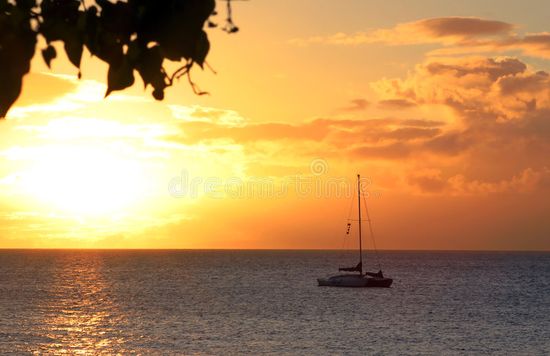 Hawaiian Sunset Boat. Looking out from Lahaina Mau royalty free stock images