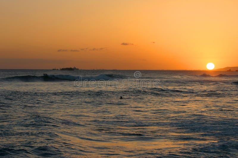 Hawaiian Sunset Over the Pacific Ocean stock photos