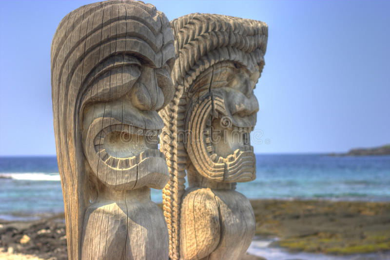 Hawaiian Tiki. Sculptures from Puuhonua O Honaunau National Park royalty free stock images