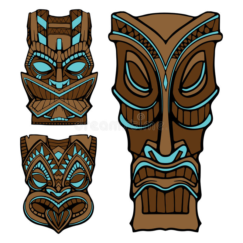 Hawaiian tiki god statue carved wood vector illustration. Eps 10. On a white background royalty free illustration