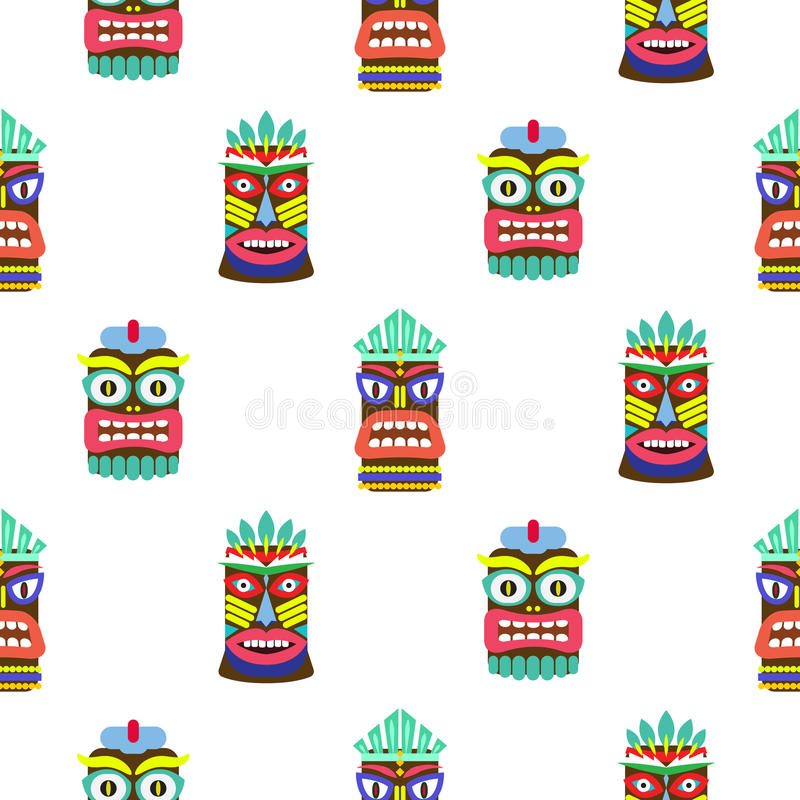 Hawaiian tiki mask seamless bright on white pattern vector. Totem symbols colorful tileable background royalty free illustration