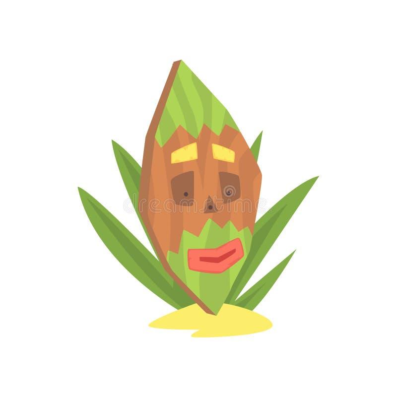 Hawaiian Tiki mask, tribal totem cartoon vector illustration. Isolated on a white background vector illustration
