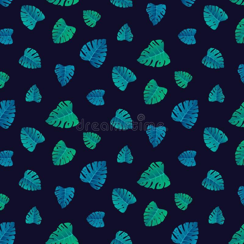 Hawaiian tropical da palma da folha do teste padrão do verão ilustração stock