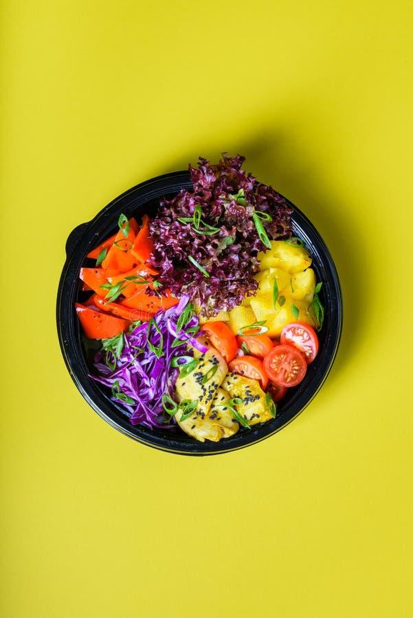 Hawaiian vegetarian poke bowl with tofu, pineapple and cole. Ready-to-eat stock photos
