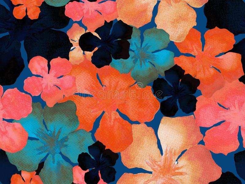 Hawaiian watercolor pattern. Pink red floral tropical seamless print. Hibiscus and oleander in Hawaii. Aloha swimwear design. Exotic bouquet fashion stock photo