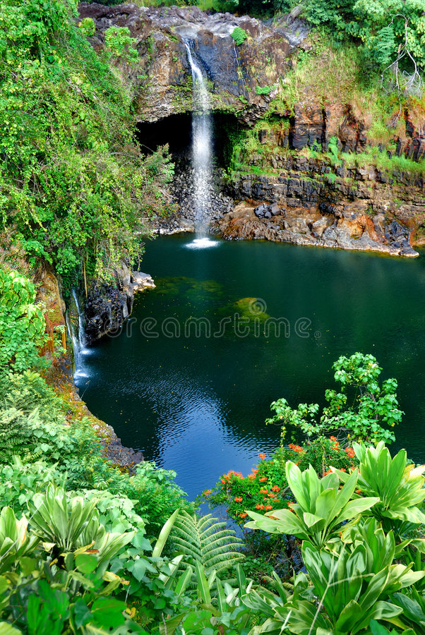 Hawaiian waterfall royalty free stock images