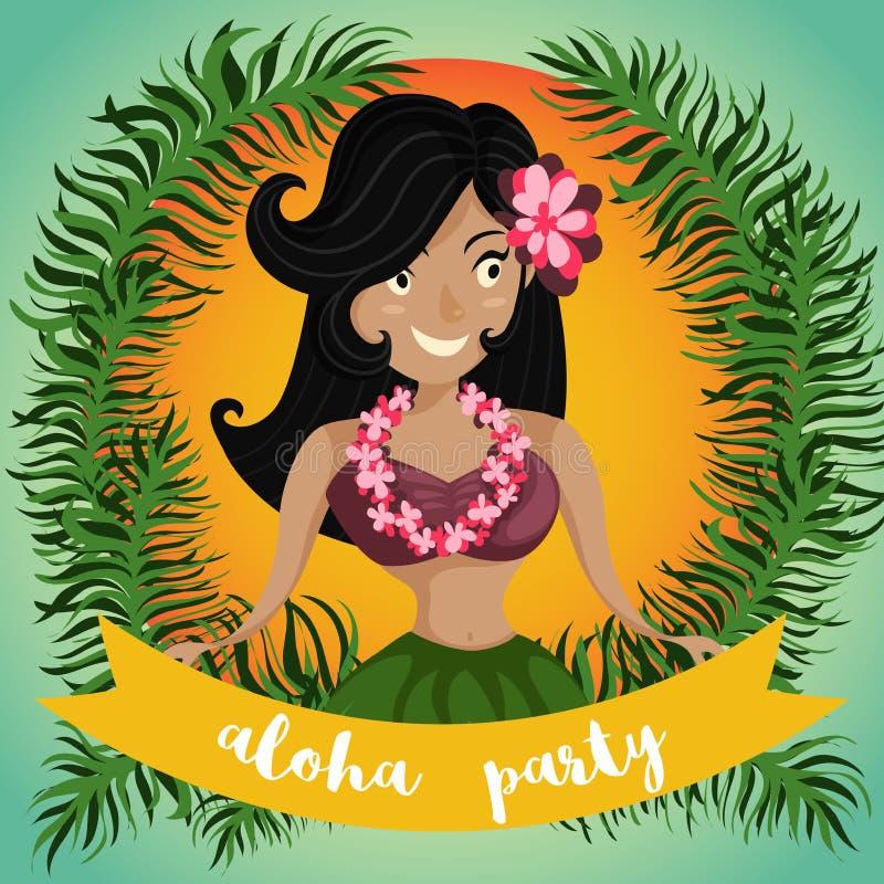 Hawaiibo Aloha Party Invitation med den hawaianska det huladansflickan, palmblad och bandet stock illustrationer
