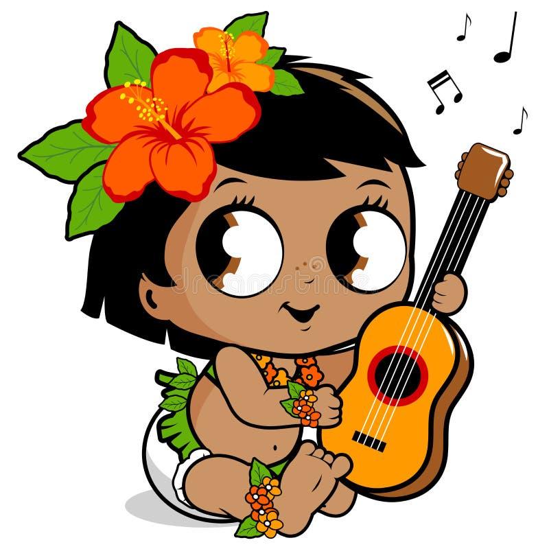 Hawaiibo behandla som ett barn flickan som spelar ukulelet royaltyfri illustrationer