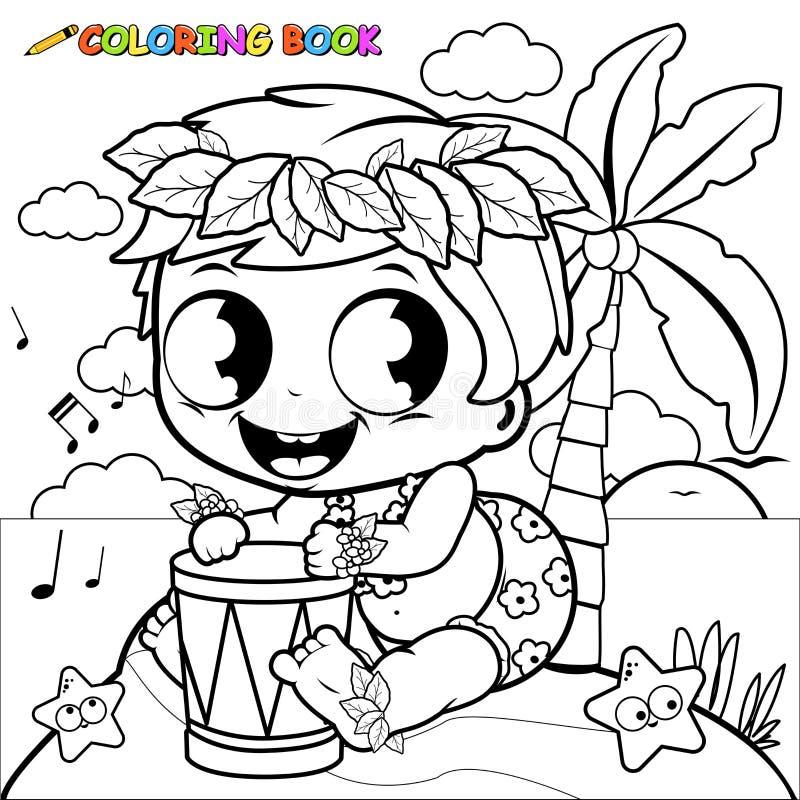Hawaiibo behandla som ett barn pojken på en ö som spelar musik med en vals Sida för färgläggningbok royaltyfri illustrationer