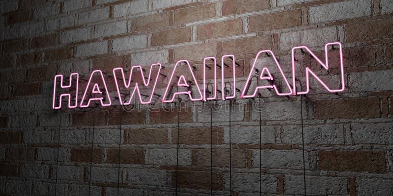 HAWAIIBO - Glödande neontecken på stenhuggeriarbeteväggen - 3D framförde den fria materielillustrationen för royalty vektor illustrationer